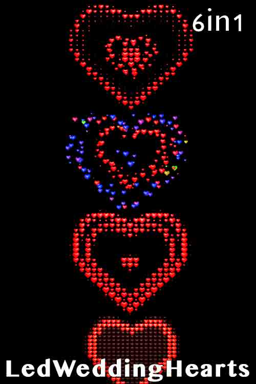 Led Wedding Hearts (6in1)